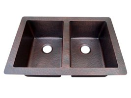 Copper Kitchen Sink Traditional Under/Over Mount Double Bowl Sink