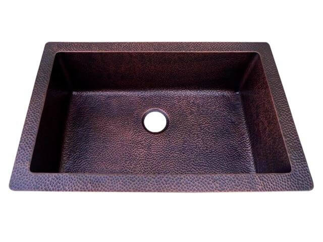Copper Kitchen Sink Traditional Under/Over Mount Single Bowl Sink