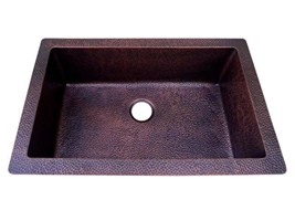 Hard Hammered Antique Copper Kitchen Sink Traditional Under/Over Mount Single Bowl Sink