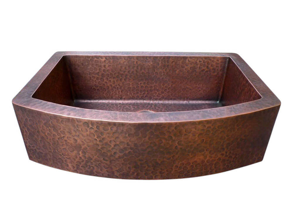 Arched Apron Single Bowl Copper Farmhouse Sink Custom Made Copper Hoods Soft Hammered
