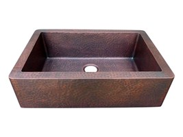 Flat Iron Custom Apron Single Bowl Copper Farmhouse Sink
