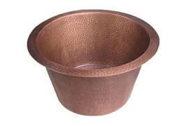 Round Hard Hammered Natural Copper Bar Sink