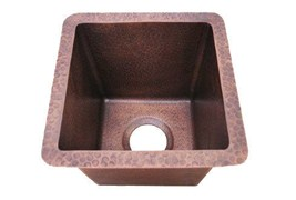 Antique Copper Hard Hammered Square Copper Bar Sink