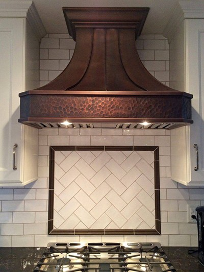 "Artisan ""Venetian"" Custom Copper Range Hood Soft-Hammered Apron"