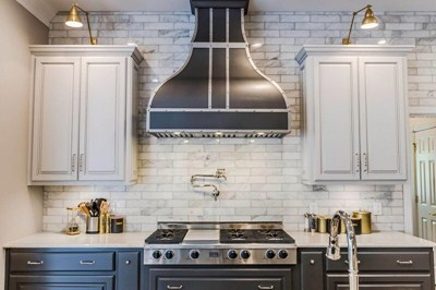 Bella Modern Copper Kitchen Hood Custom Silver Straps Rivets