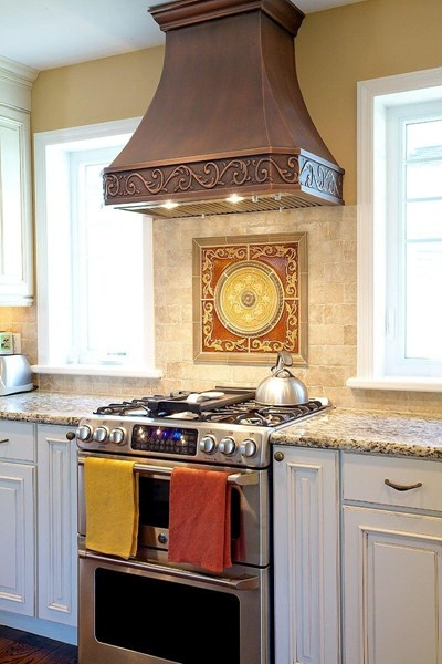Traditional Made-to-Order Copper Stove Hood Custom Apron Design