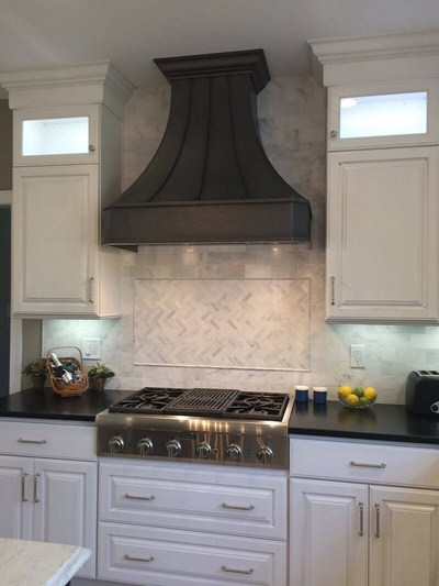 Made-to-Order Modern Venetian Bronze Kitchen Range Stove Hood Custom Straps