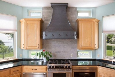 Oil-Rubbed Venetian Custom Designed Made-to-Order Copper Range Hoods Apron Rivets