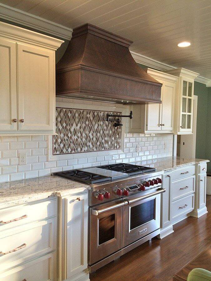 Colored Backsplash With White Cabinets