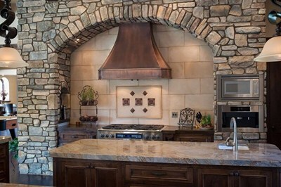 Artisan Custom-Built Wall-Mounted Copper Stove Hood