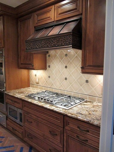 "American ""Houston"" Wall-Mounted Custom Straps & Rivets Range Hood"