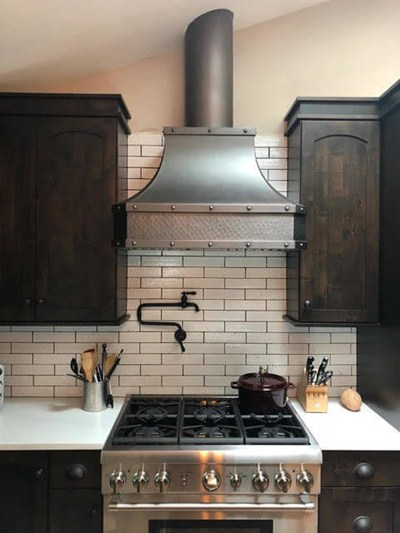 Stainless Steel Industrial Style Hard-Hammered Copper Range Hood Custom Made-to-Order