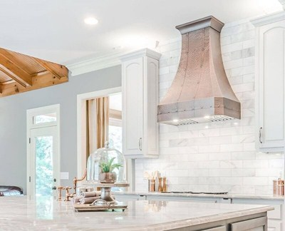 Regal Riveted Copper Stove Hoods Soft Hammered Texture & Custom Straps
