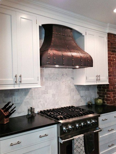 "Italian-Style Kitchen Hoods ""Davinci"" Copper Range Hood Custom Straps And Rivets"