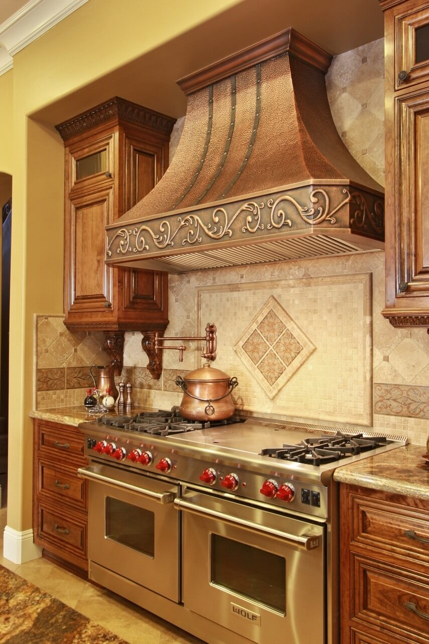 "Natural Copper Wall-Mounted ""Venetian"" Copper Hood Custom Apron Straps"